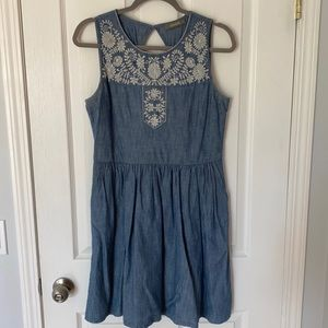 Oasis Chambray Embroidered Dress